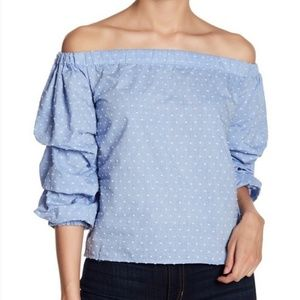 Romeo + Juliet Couture Off the Shoulder Swiss Dot